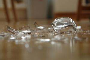 Broken Glass on Floor