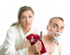 Woman Shaving Man Blood