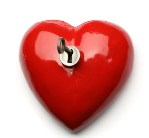 Glossy Red Heart with Key
