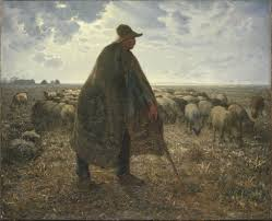 Shepherd and his Flock painting