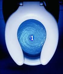 Swirling blue toilet bowl with 1