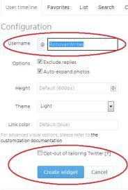 Widget at Twitter Configuration