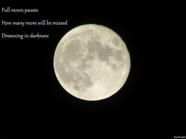 Full moon passes How many more will be missed Dreaming in darkness