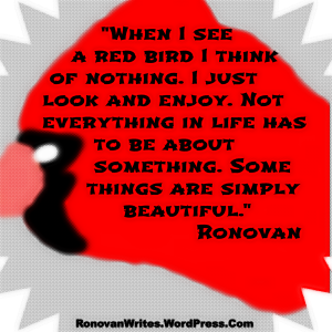 red bird image with quote