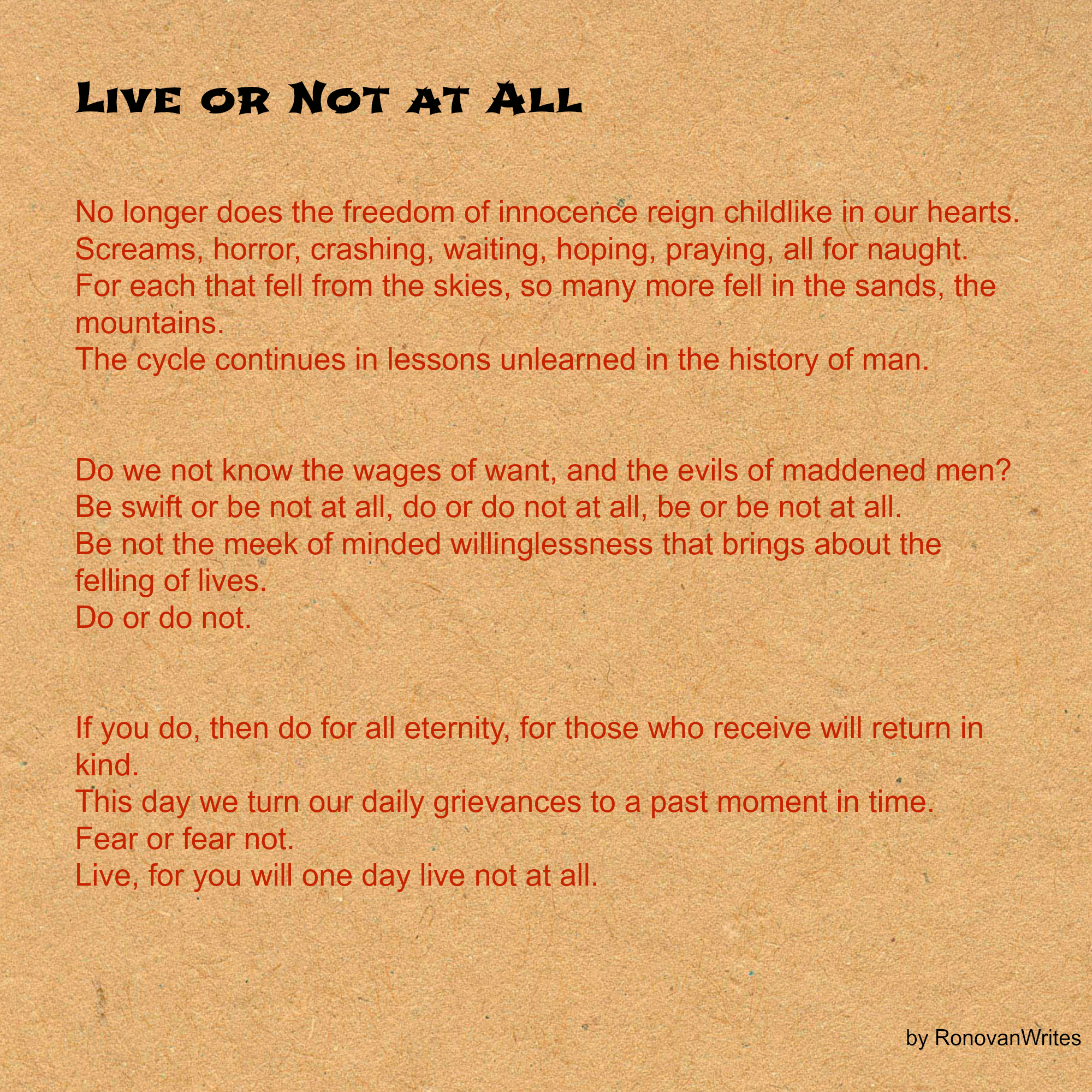 Live Or Not At All Ronovanwrites