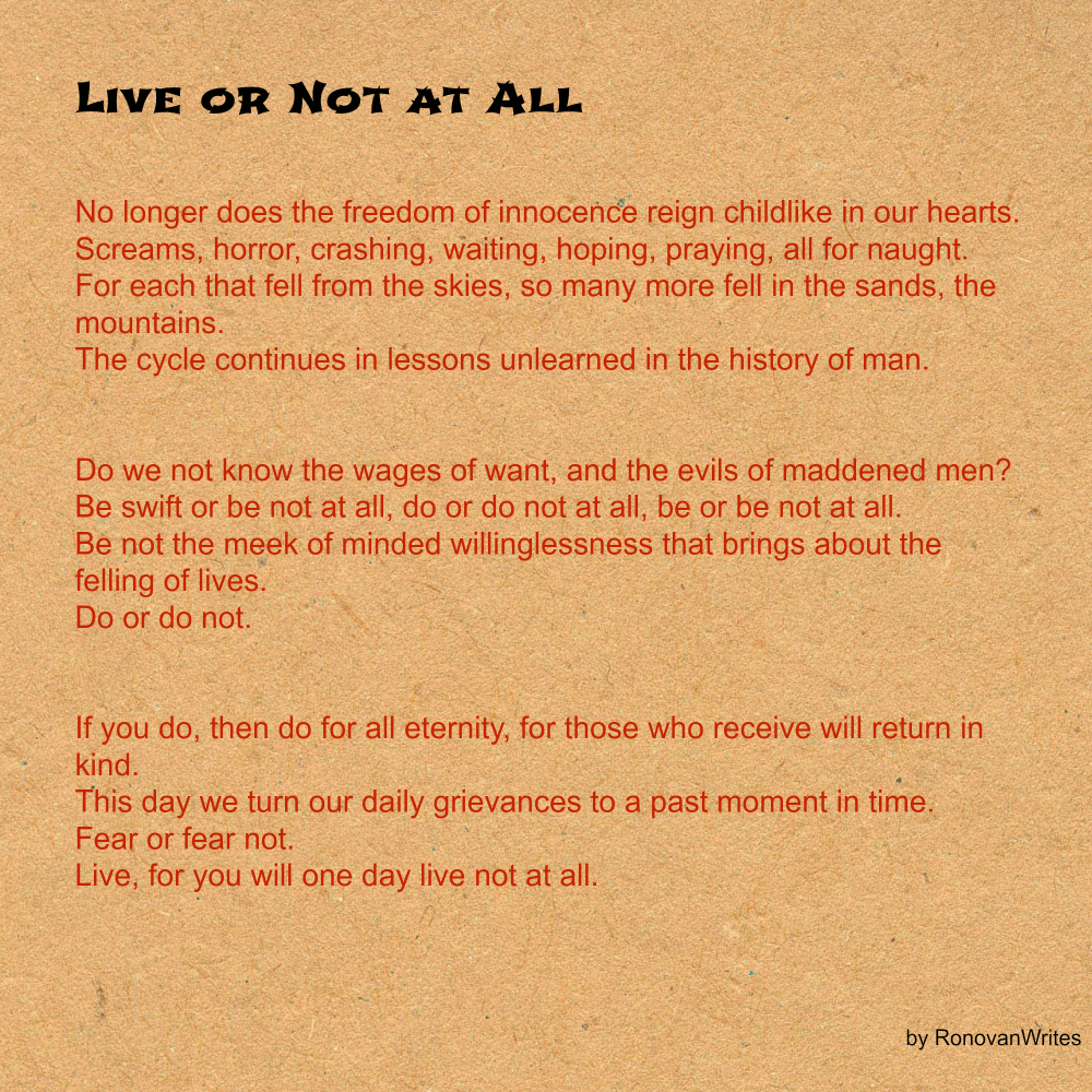 Love or not at all a September 11 poem.