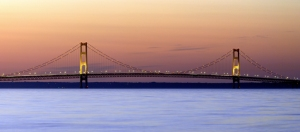 """Mackinac Bridge Sunset"" by Dehk - Own work. Licensed under CC BY 3.0 via Commons - https://commons.wikimedia.org/wiki/File:Mackinac_Bridge_Sunset.jpg#/media/File:Mackinac_Bridge_Sunset.jpg"