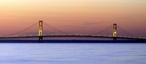 """Mackinac Bridge Sunset"" by Dehk - Own work. Licensed under CC BY 3.0 via Commons - https://commons.wikimedia.org/wiki/File:Mackinac_Bridge_Sunset.jpg#/media/File:Mackinac_Bridge_Sunset.jpg"