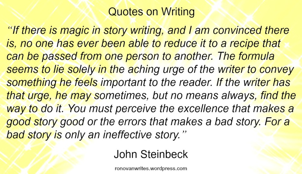 John Steinbeck Magic in Writing Quote Image