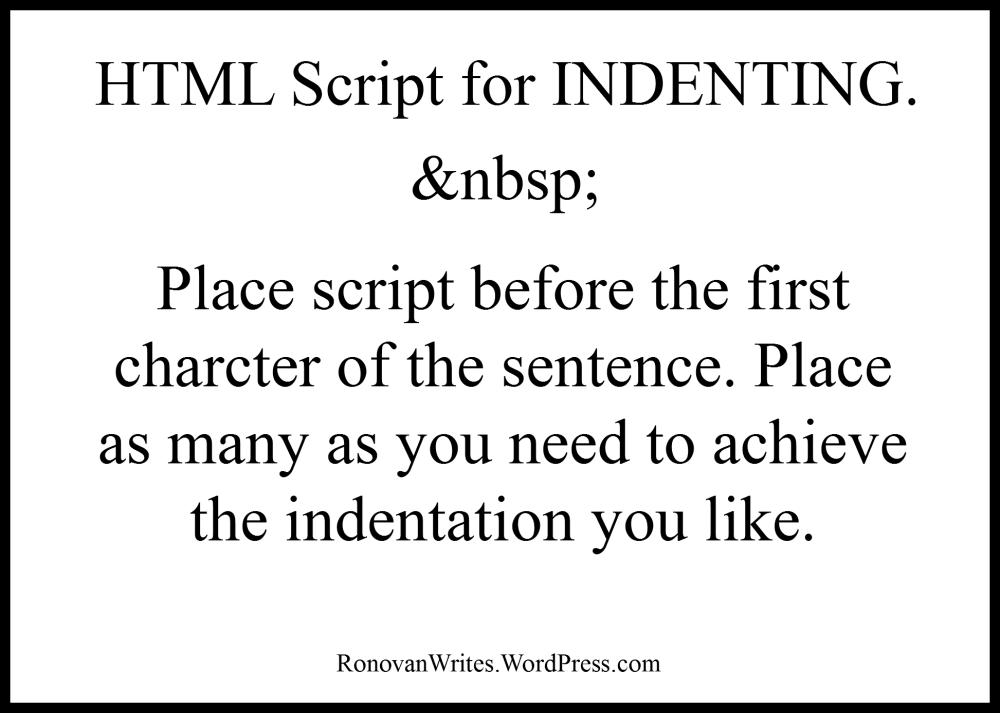 HTML Indent Script Image.