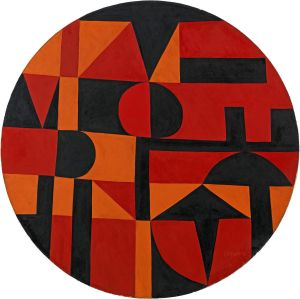 Guess that art image 1. Circle with orange and black geometric shapes,