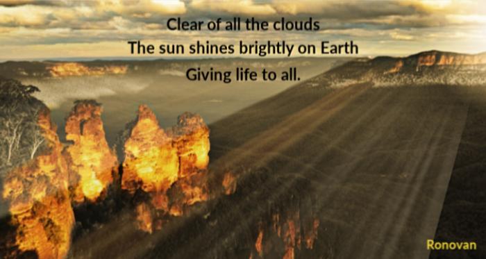 Life Giving Haiku on image of mountains with sunshine.
