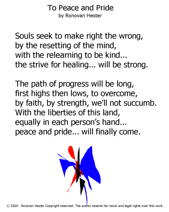 to peace and pride poem as PNG image.