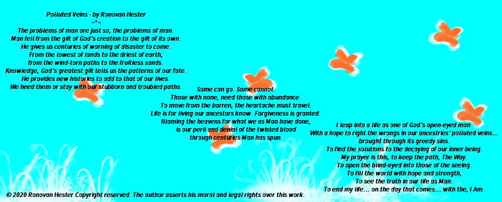 Polluted Veins poem on sky blue background.
