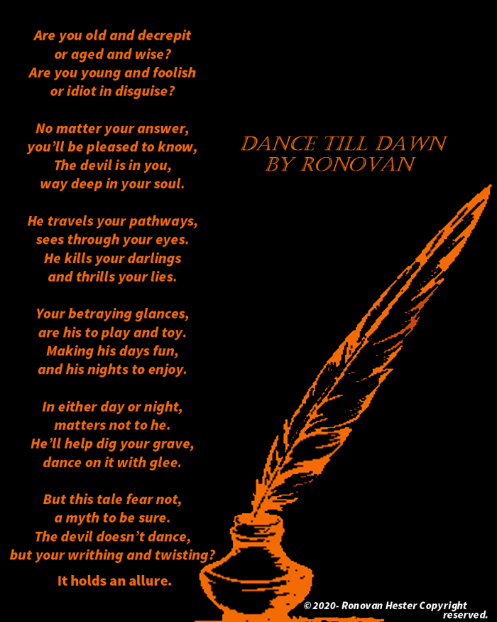 Dance till dawn poetry image. Orange letters on black background. Orange quill and inkwell.