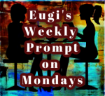 Eugi's weekly promptt on Monday image. Silhouette of two women at a table with multi colored background.