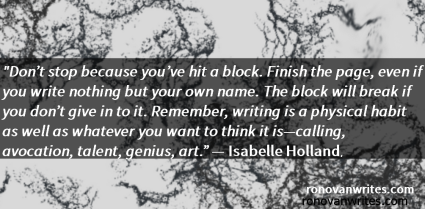 Isabelle Holland quote in simple white text on black band and marble styled background.