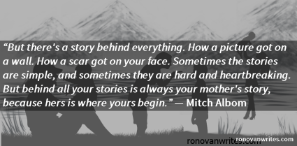 Mitch Albom quote on silhouettes of mothers with children scenarios.
