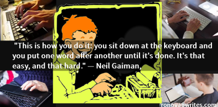 Neil Gaiman quote in white text on background of people typing and a retro comic strip character.