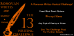 RW The 13 Writing Challenge featured image. Orange text on black background.