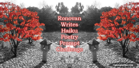fall haiku challenge badge japanese maple with black and white background
