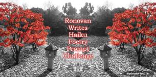 fall haiku challenge badge japanese maple with black and white background
